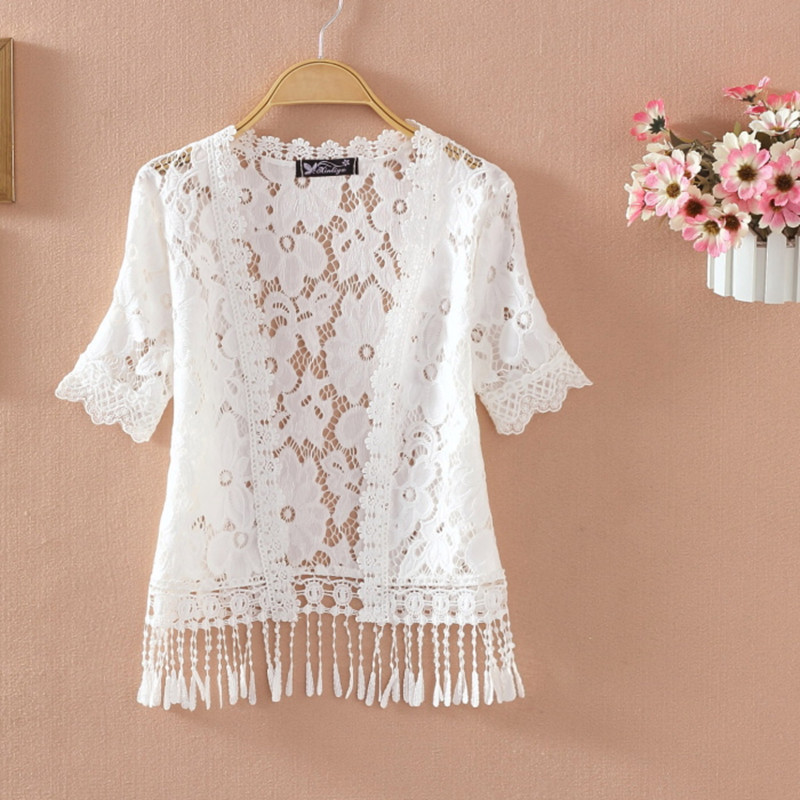Lady Short Sleeve Lace Shrug Bolero Cape Capelet Jacket White Open Cardigan Tops Bathing Suit Beach Cover QDD9061 T5190612