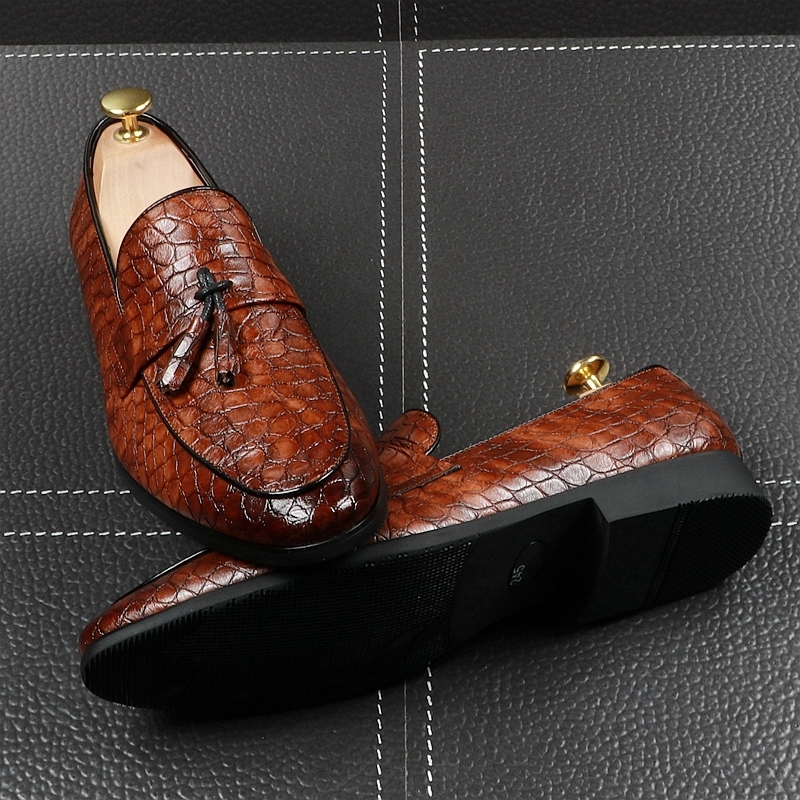 Memorable2019 Man England Brown Sharp Set Foot Tassels Leisure Time Small Leather Flange Within Increase Shoe Hairstyle Designer Shoes