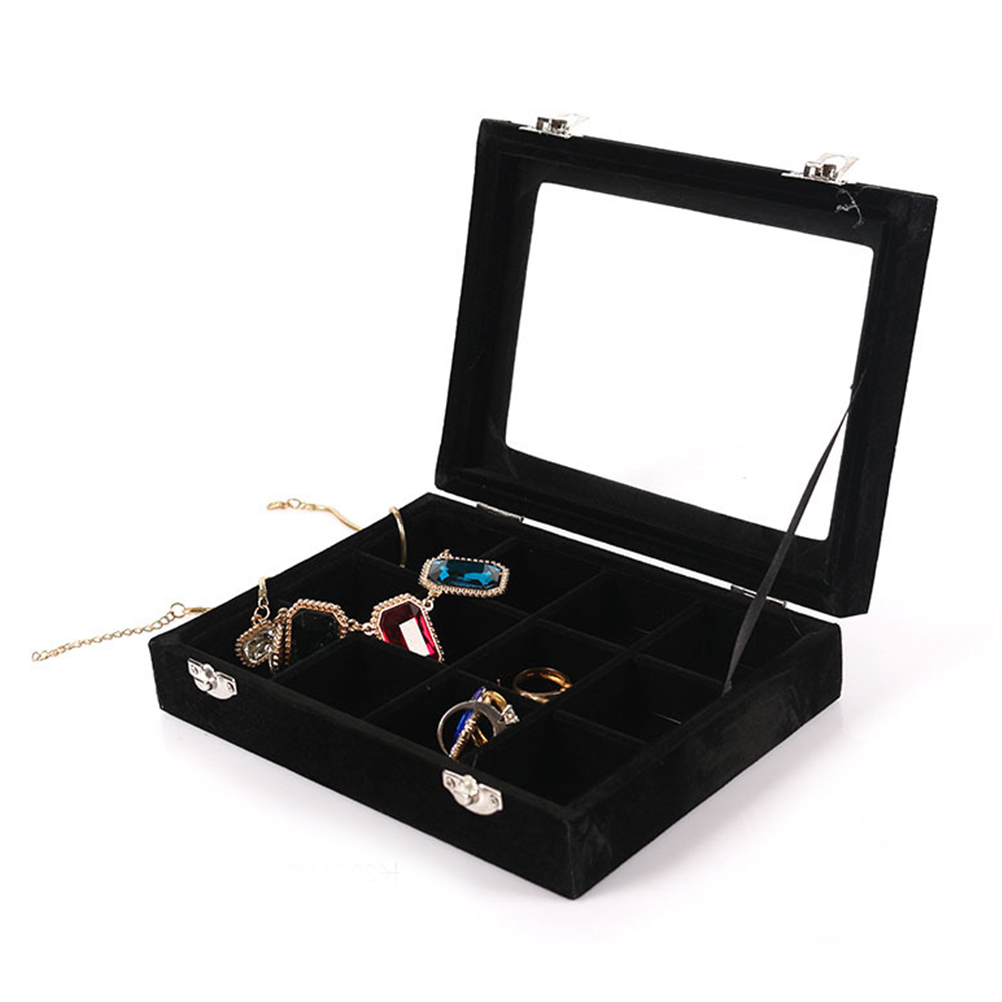 Organizer Case Box with Gold Single Buckle 24 Trumpets Holder Storage Glass Earrings Rings Jewelry Display Black