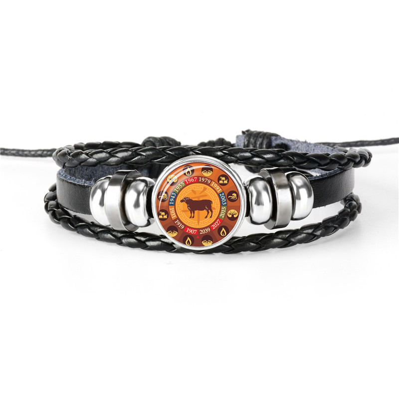 Touched By An Angel Glass Cabochon Bracelet Braided Leather Strap Bracelets