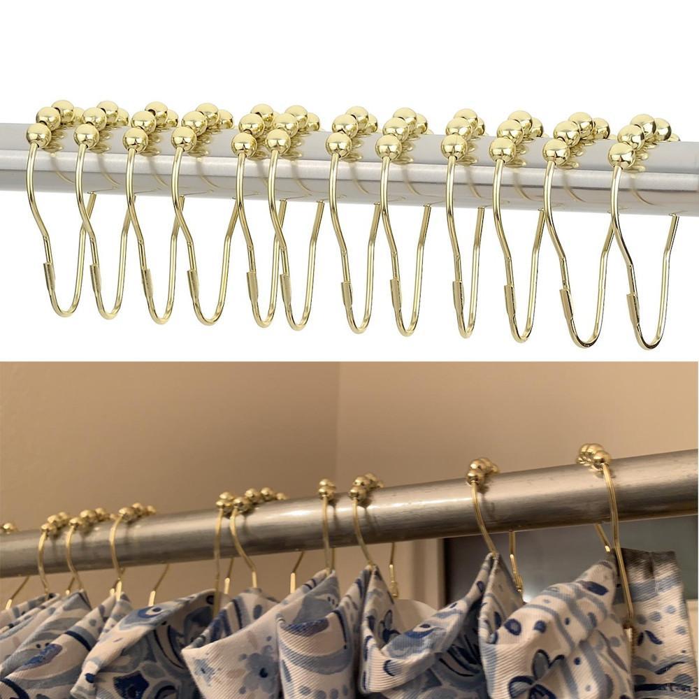 12 Stück//Set Duschbad Vorhang Ringe Haken Glide Metall Rostfrei für Badezimmer