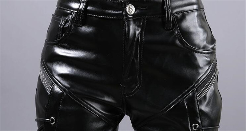 Moruancle New Winter Mens Skinny Biker Leather Pants Fashion Faux Leather Motorcycle Trousers For Male Stage Club Wear T4190617