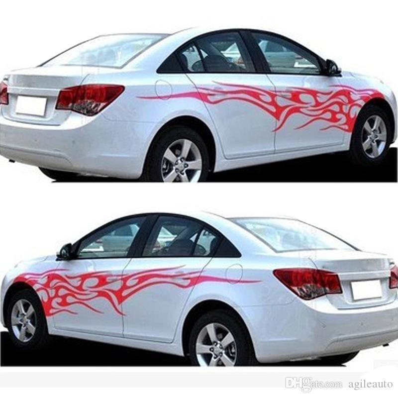 2PCS Fashion Racing Car Stickers Car Bumper Door Vinyl Decor Flame Fire Sticker