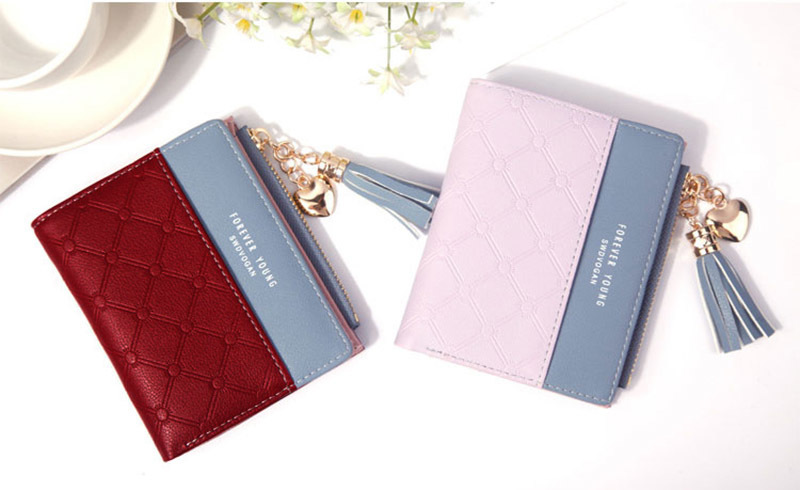 Women Wallet Female Short Paragraph Coin Purse Color Wallet Women Small Fold Wallets Tassel Zipper Button Bag Credit Card Holder (21)