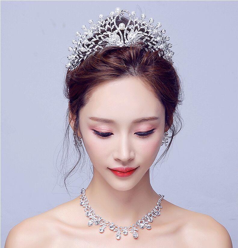 Gorgeous Wedding Tiara Simulated Pearls Jewelry Diadem Shiny Bridal Crown Big Queen Tiaras Rhinestone Crystal Hair jewelr (8)
