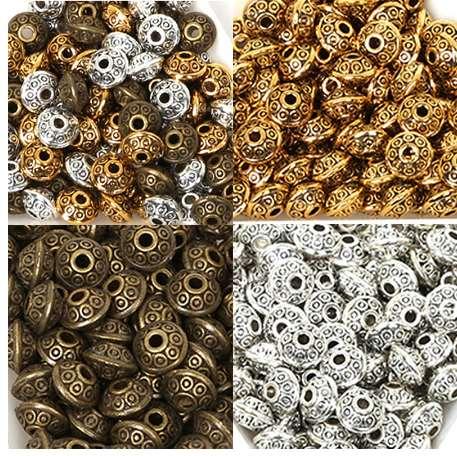 50pcs//lotti Tibetano Ovale UFO Distanziatore Perline in Metallo 6mm Gioielli Making all/'ingrosso