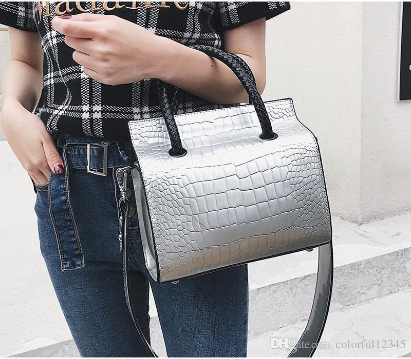 Sexy2019 Pop Borse a tracolla borse da donna con maniche a mano in vera pelle di coccodrillo