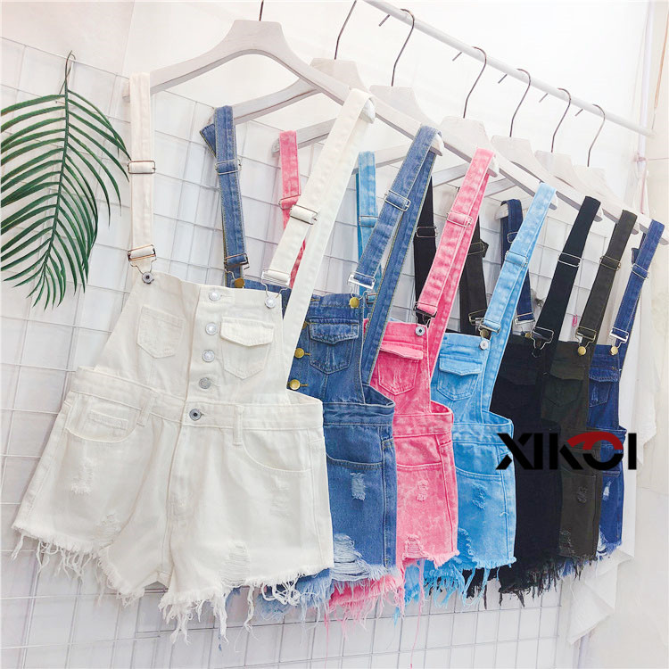 2018 Fashion Denim Bibs Schoolgirl Spring Summer New Loose Korean Thin Hole Burst Fringe Shorts There is a large yard (3)