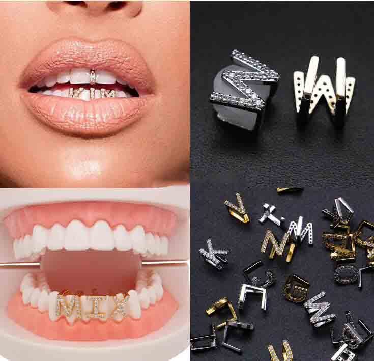 Shiny Glossy Hip Hop 18k Gold Plated Teeth Mouth Caps Grill Men Fancy Canine