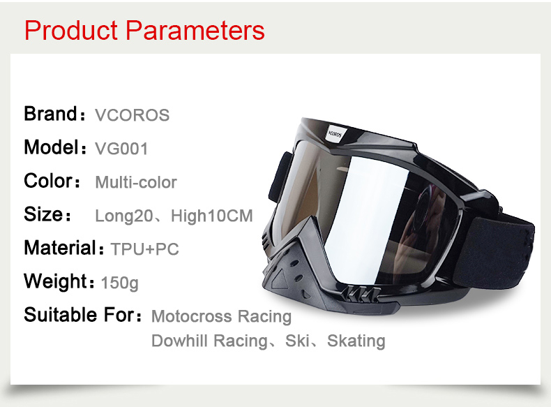 New Vcoros brand Gafas motorcycle goggles helmet glasses moto helmets glasses masque motocross goggles ski windproof eyewears