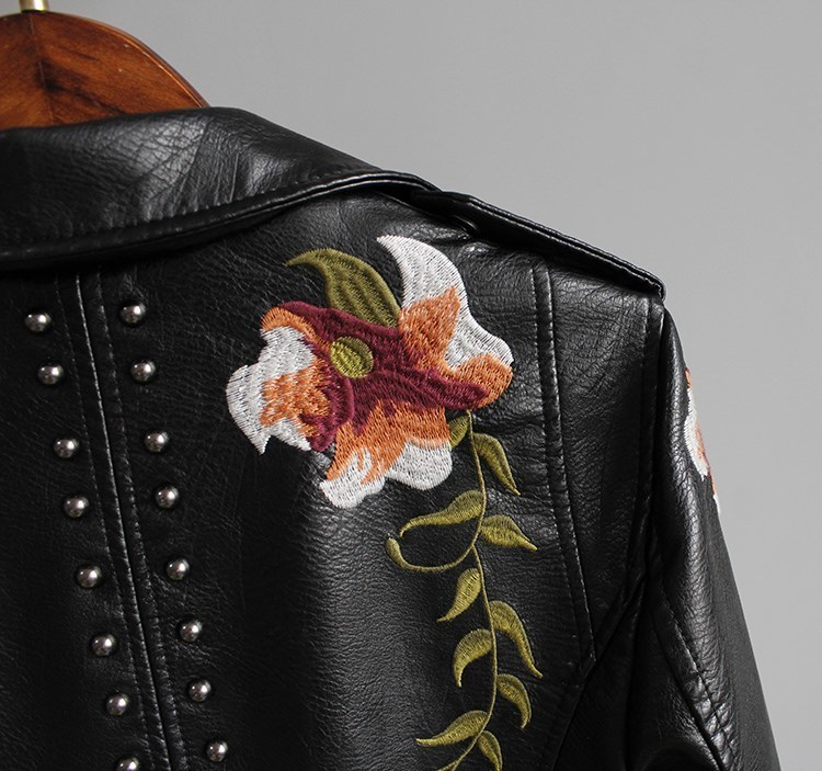 Ftlzz Women Floral Print Embroidery Faux Soft Leather Jacket Coat Turn-down Collar Casual Pu Motorcycle Black Punk Outerwear T3190601
