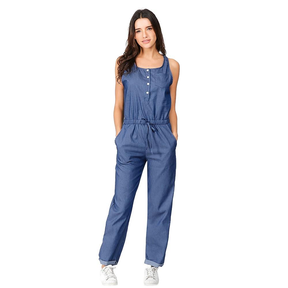 Summer Womens Jumpsuit Holiday Jeans Demin Elastic Waist Strappy Long Beach Jumpsuit Overalls Romper Women Sleeveless