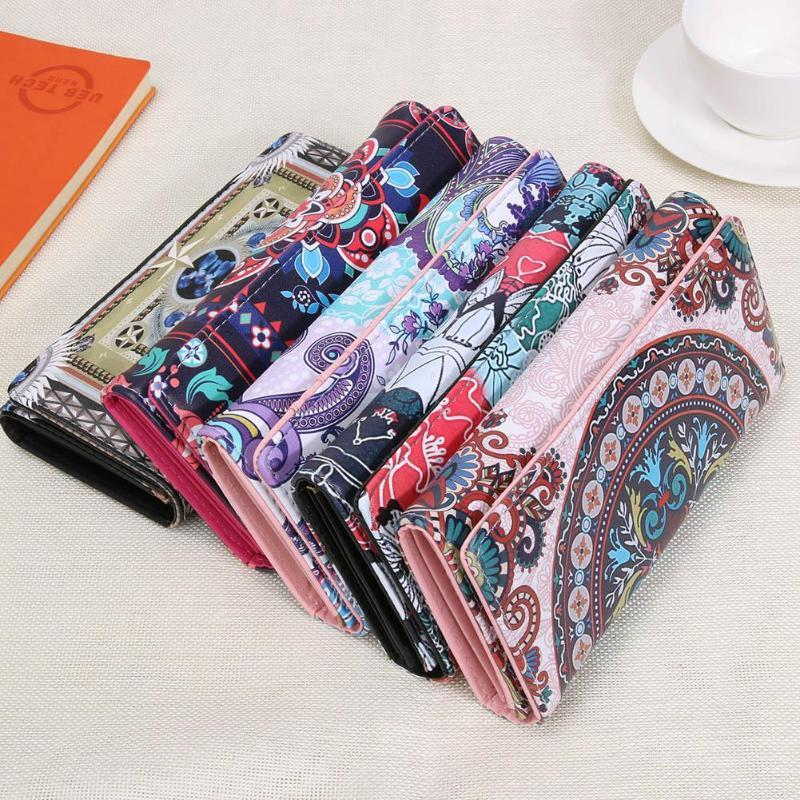 Vintage Graffiti Printed Women Pu Leather Casual Long Wallet Girls Mini Clutch Phone Cool Multi-color Card Holder Ladies Purse