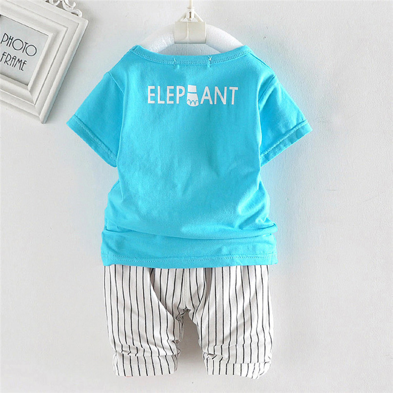 2PCS Baby Boy Sets Toddler Infant Baby Boy Short Sleeve Cartoon Elephant T-shirt Tops+Striped Pants Sets Baby Boy Clothes M8Y18 (23)