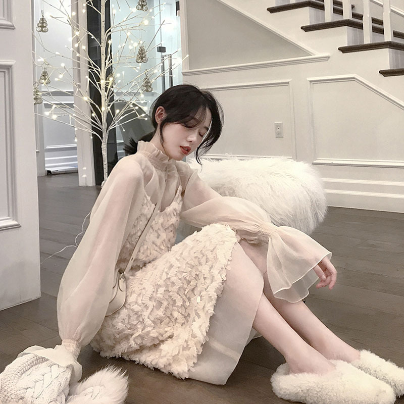 Love2019 Network Red With Pattern A Fairy Real Longuette And Heavy Camisole Dress Elegant Sweet