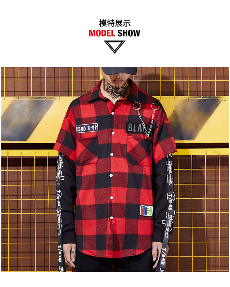 Red And Black Plaid Patchwork Shirt Men (1)