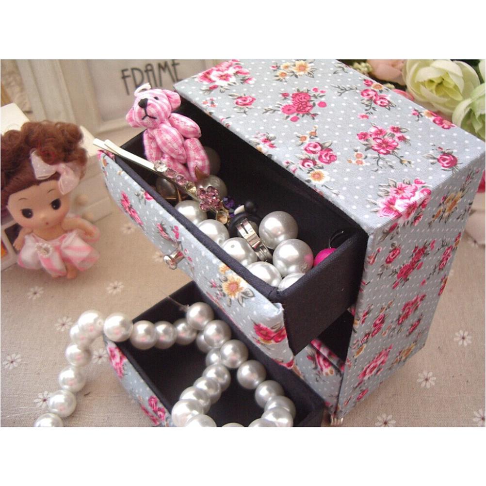 Mini Cabinet-Shape Jewelry Box Case Organizer Celadon
