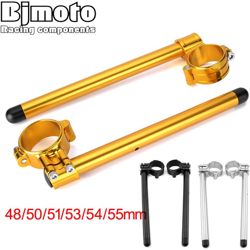 """Motorcycle Aluminum Alloy Gold Riser 52MM Fork Tube Clip On 7//8/"""" Handlebars"""