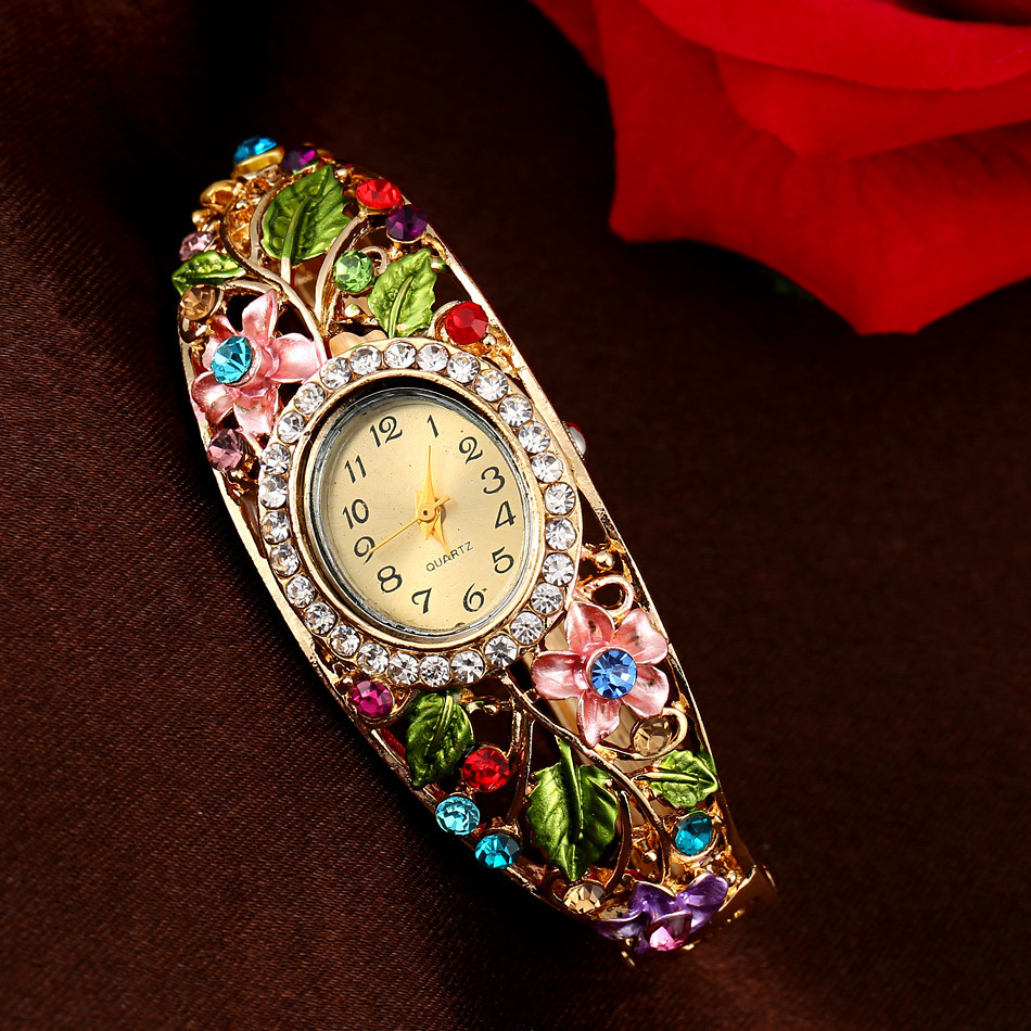 Chinese style garden setting rhinestone ladies bracelet watch exquisite jewelry alloy strap clock personalized gift accessories