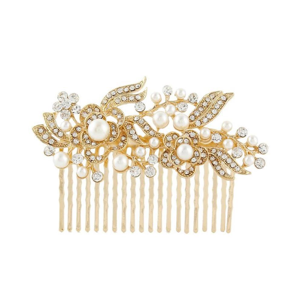 Arbeiten Sie Kristall Diamante Blumen-Haar-Kamm-Brosche Braut Hochzeit