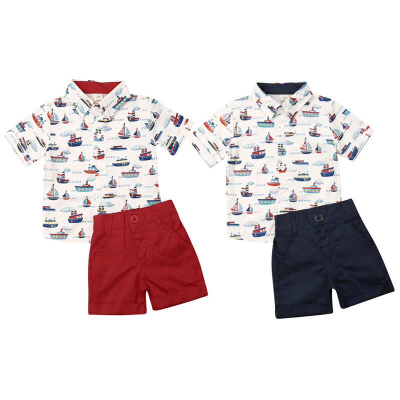 Infant Baby Girl Anchor Bow Tops T-shirt+Shorts pants 2pcs Outfits Set US Stock