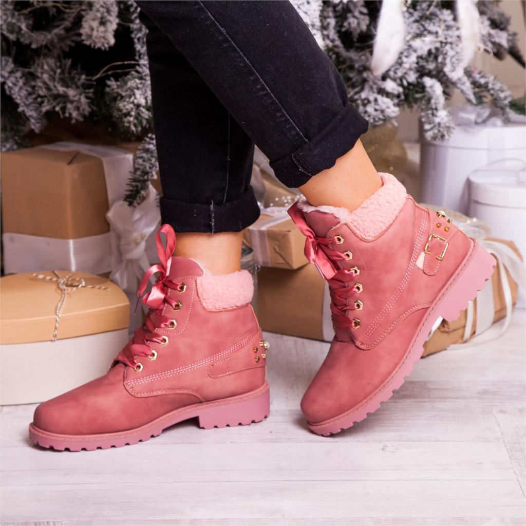 New Pink Women Boots Lace up Solid Casual Ankle Boots Booties 11.11 Round Toe Women Shoes winter snow boots warm british