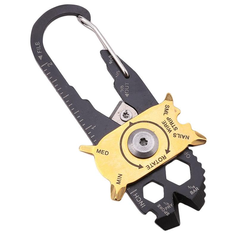 Stainless Steel Keychain Multifunction Engaging Carabiner Buckle EDC Tool