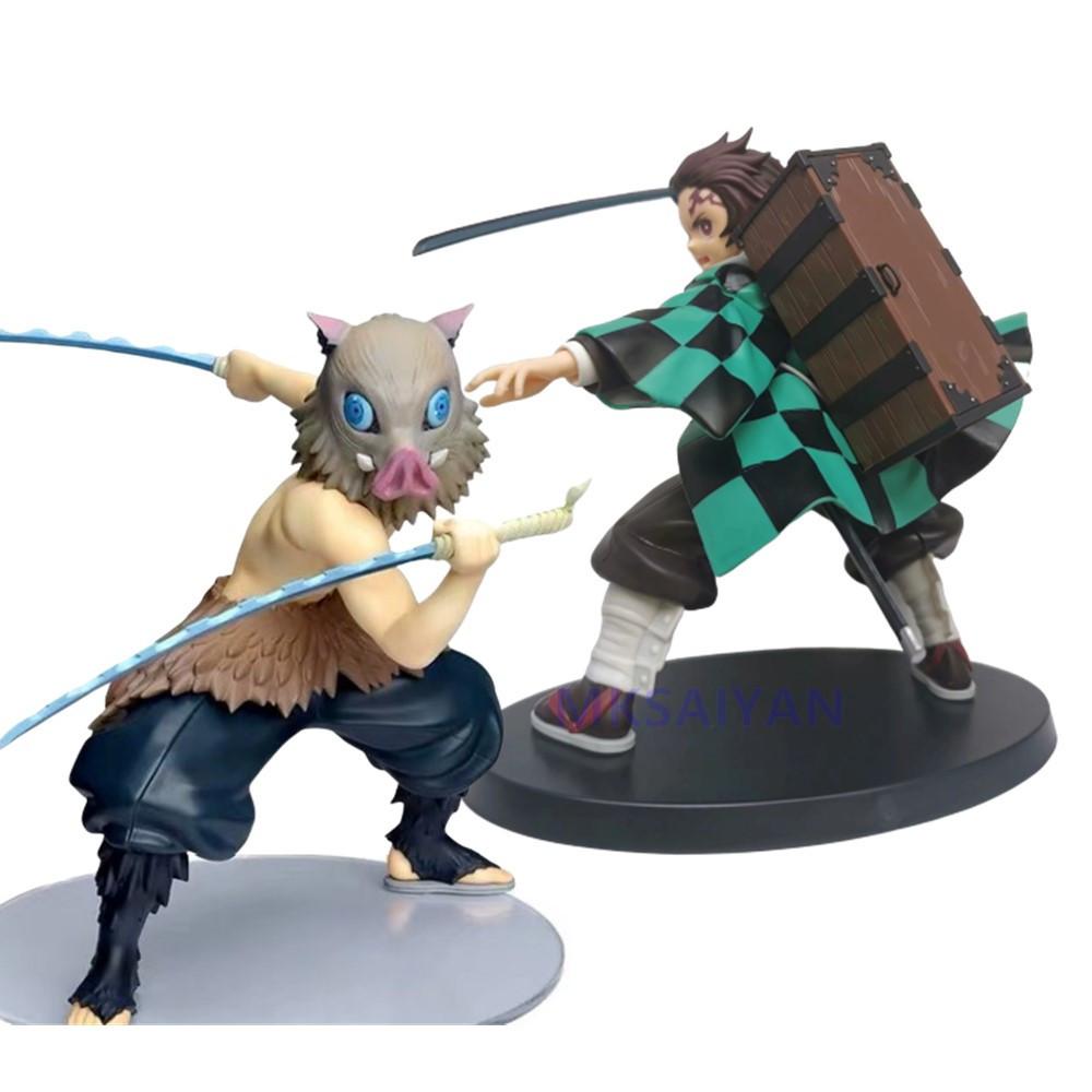 Kimetsu no Yaiba Anime Figures Demon Slayer Toys Kamado Tanjirou Hashibira Inosuke Esferas Del Action Figurine Demonic PVC Model