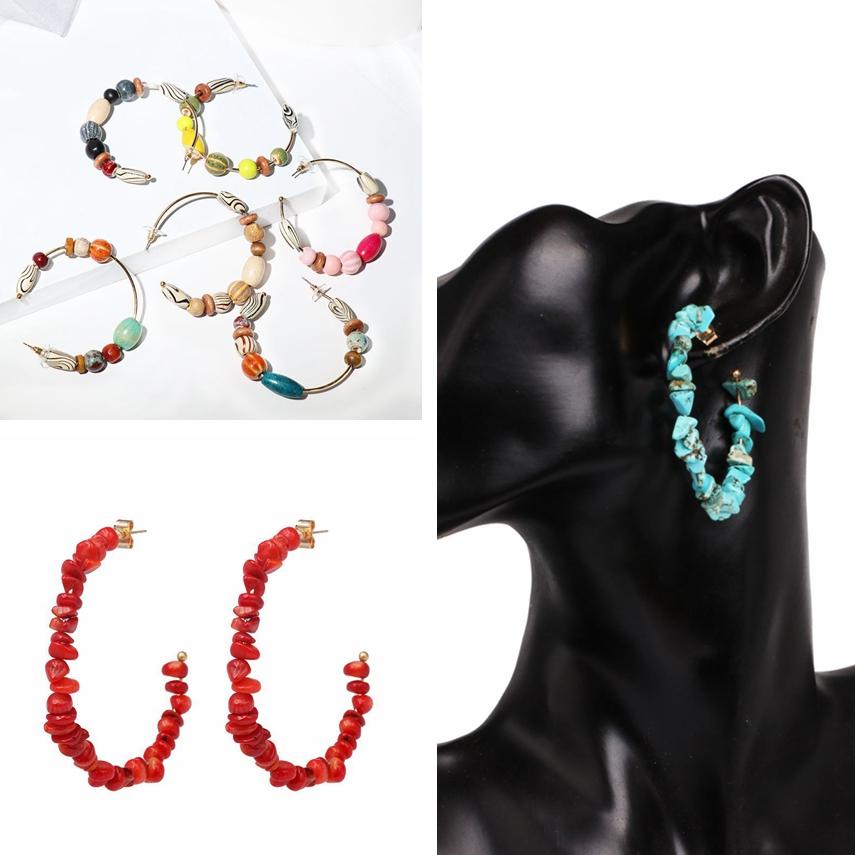 Ethnique Boho Boucles d/'oreilles style vintage couleur Perles Creux Rond Boucles d/'oreilles Créoles