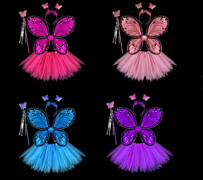Fée Ailes et Baguette Set Pixie Rouge//Violet Ailes Fée Fête Robe Fantaisie