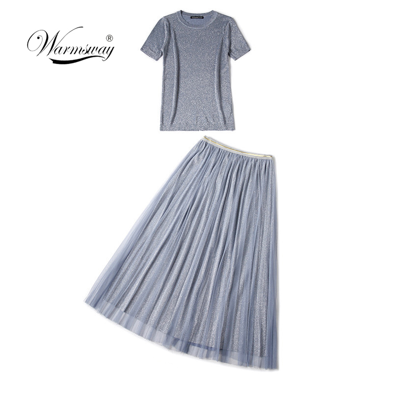 WARMSWAY Silver Shiny Lurex Knitted Womens Two Piece Sets O-Neck Short Sleeve T shirt + High Waist mesh Skirt C-069