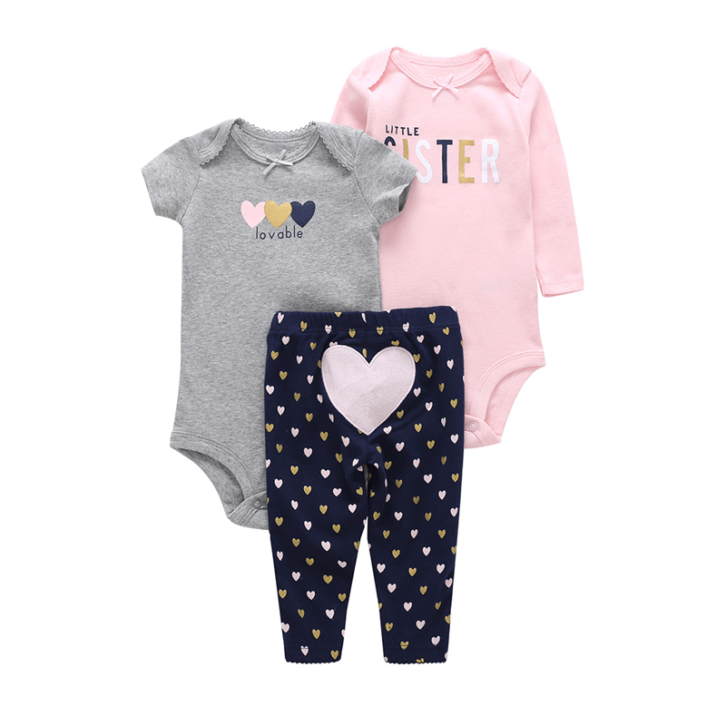 cute loving heart infant baby girl clothes set new born baby bodysuit set romper+long sleeve bodyduit+pant 3 pieces outfits 2018