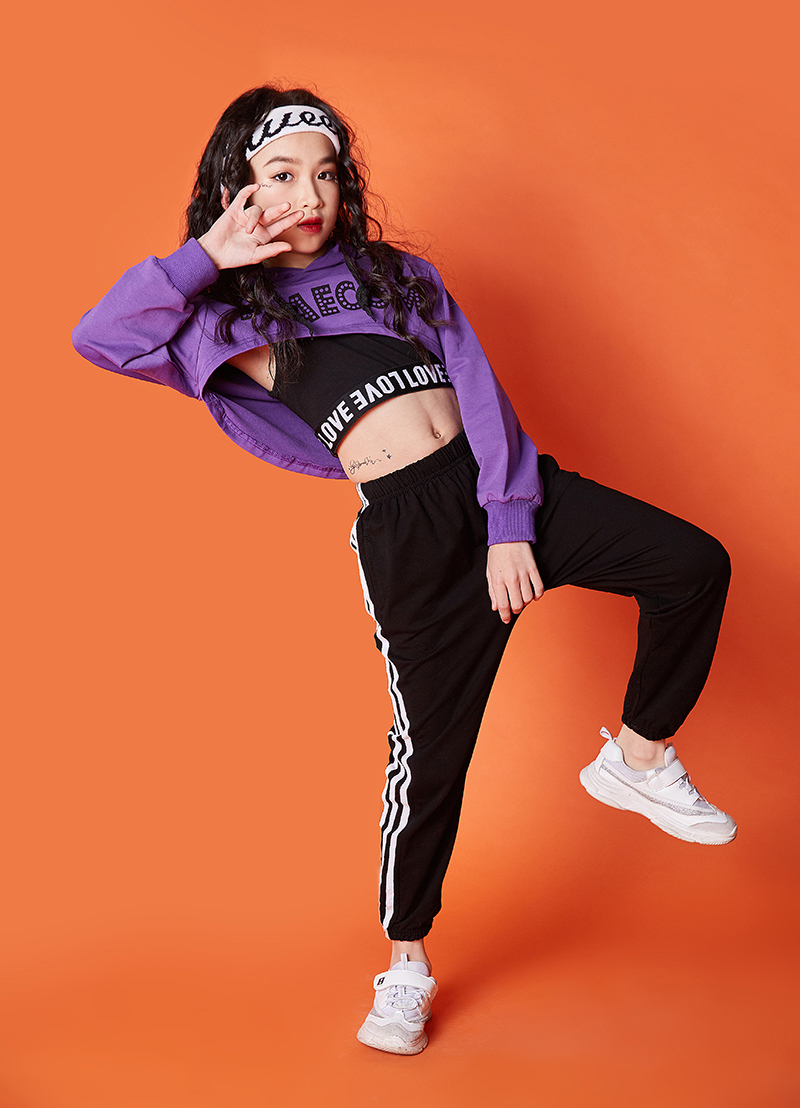 Summer girls clothes set Long Sleeve 2019 8 10 12 14 16 Years jazz dance costumes for kids hip hop hoodie top costume kids Girls (6)