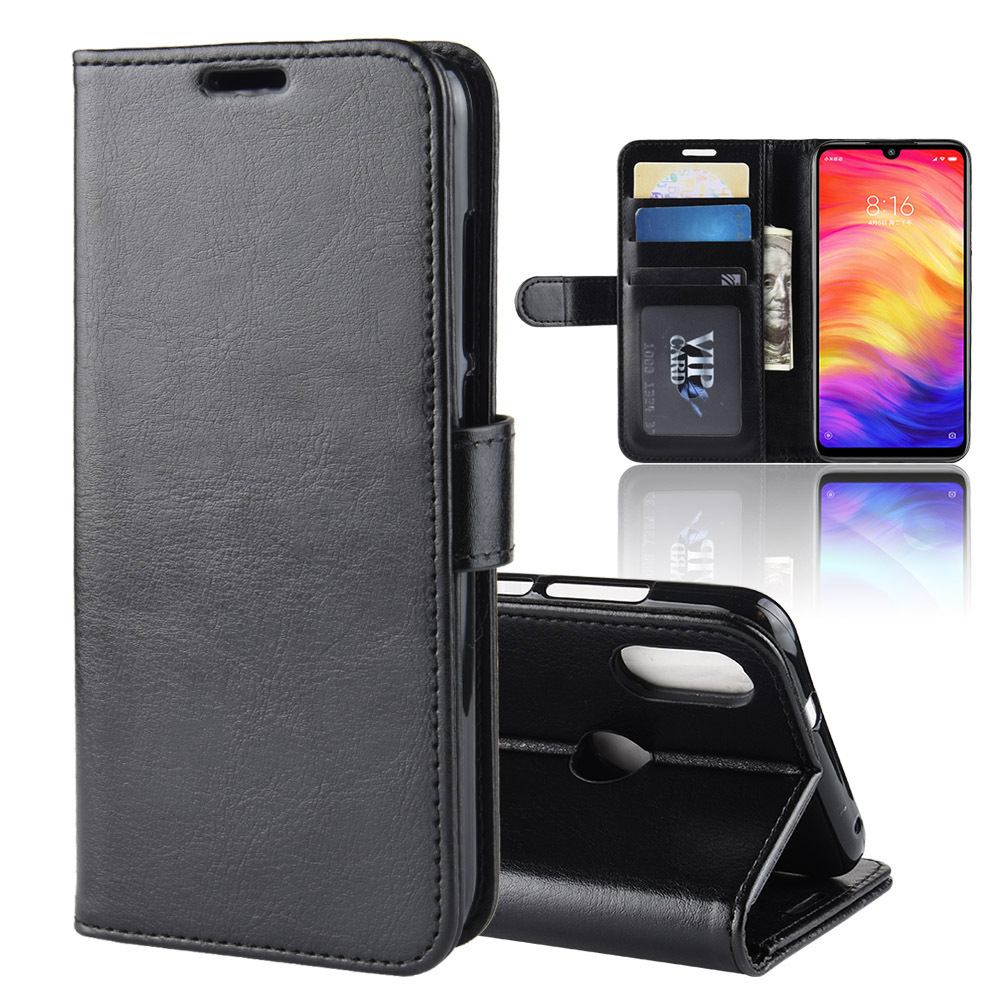 Applicable to millet red rice Note7 mobile phone shell Crazy Horse grain folded wallet protective cover spot mobile phone leather case