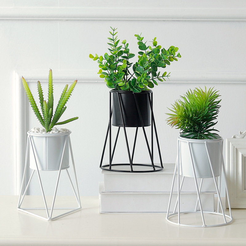 Planta de metal titular de Flor Geométrico Colgante Rack Estante de decoración del hogar Oficina de pantalla