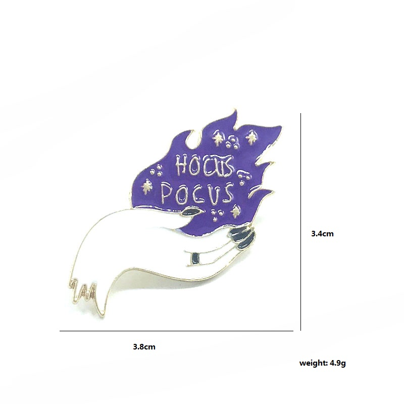 Hocus Pocus pin silver witch hand brooch magical purple flame badge Gothic Aesthetic jewelry horror Halloween gift