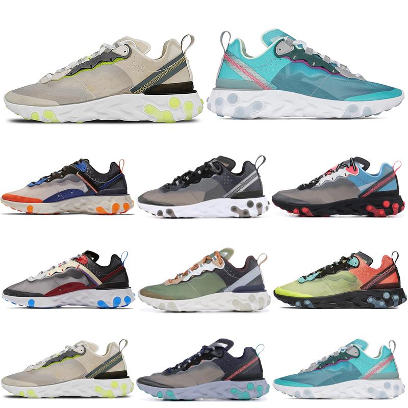 2019 New React Element 87 Running Shoes For Mens Women White