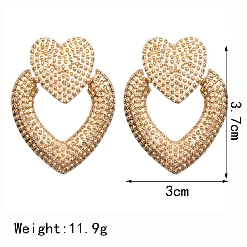 Vintage Statement Gold Geometric Alloy Heart Dangle Drop Earrings For Women Luxury Design Earings Fashion Jewelry 2019