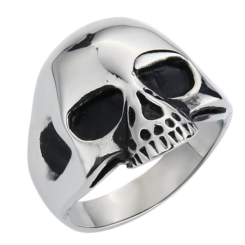 Rétro Skull Motif Parti Bague Acier Inoxydable Hommes Noir Argent Couleur Jaune Taille 11 or