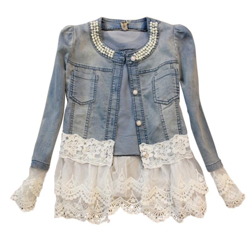 Para mujeres Mangas Largas Abrigo Chaqueta De Jean Denim suelto de Crochet con Encaje Talla Grande Prendas de abrigo