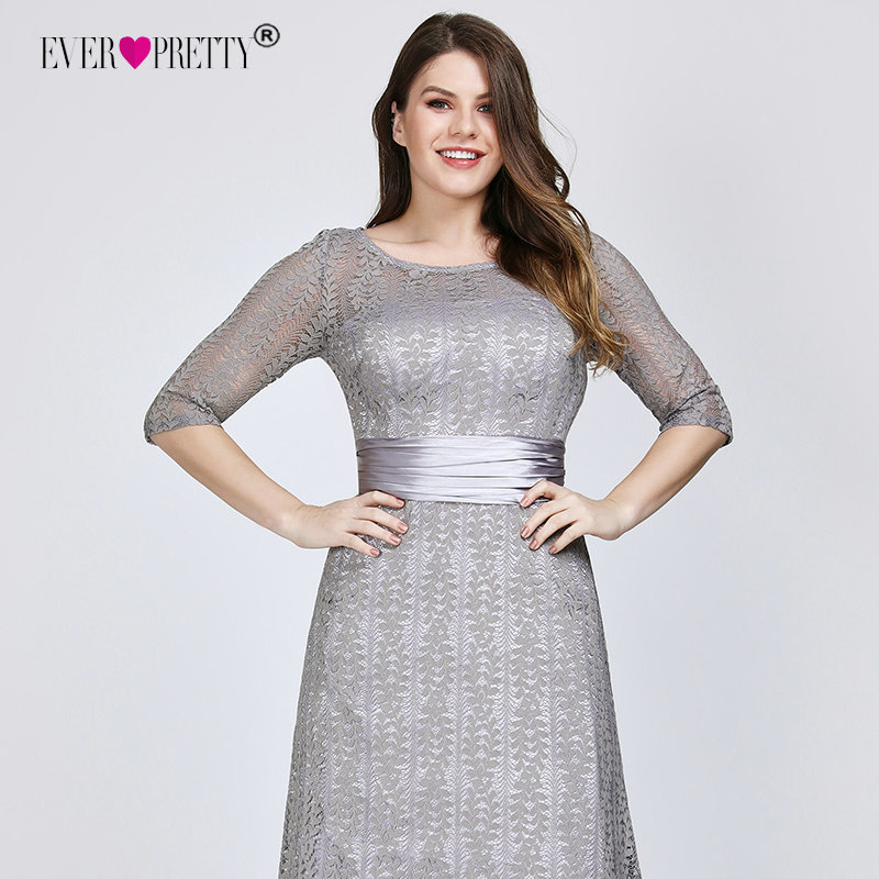 Elegant Plus Size Evening Dresses Long 2019 Ever Pretty Ep08878gy A-line Lace Half Sleeve Grey Formal Party Gowns For Wedding Y19072901