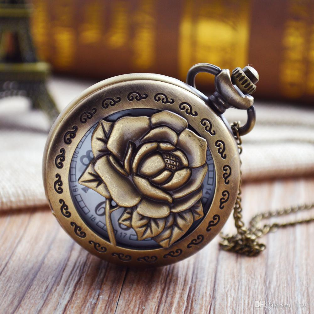3D Rose Necklace for Women Lady Girlfriend Gifts Hollow Vivid Engraved Flower Nurse Quartz Pocket Watch Antique Pendant Chain Gift