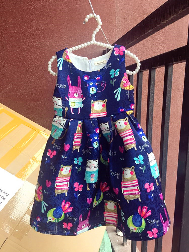 Kseniya Kids New European Summer Girls Dresses Cotton Cartoon Girl Kids Clothes Blue Pink Flower Dress Hand Graffiti 2-14 Years J190505
