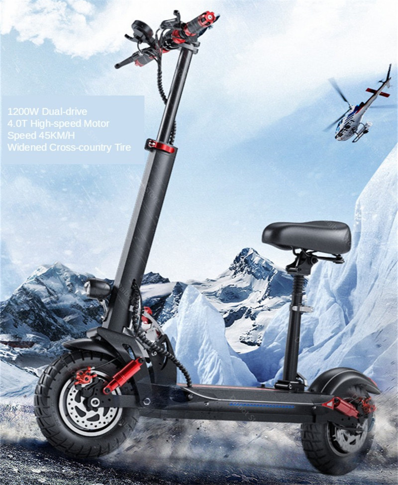 Double Drive Electric Scooter Off Road 2 Wheels Electric Scooters 10 Inch 48V 1200W 45KMH Folding Kick Scooter For Adult (13)