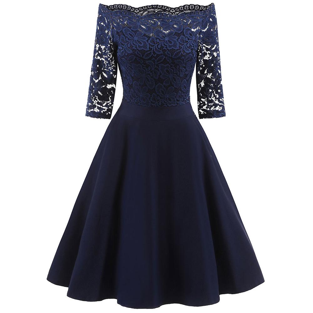 Wipalo lace panel mulheres dress primavera off the shoulder vestidos de balanço do vintage elegante sólido midi vermelho dress vestido de festa vestidos y19050905