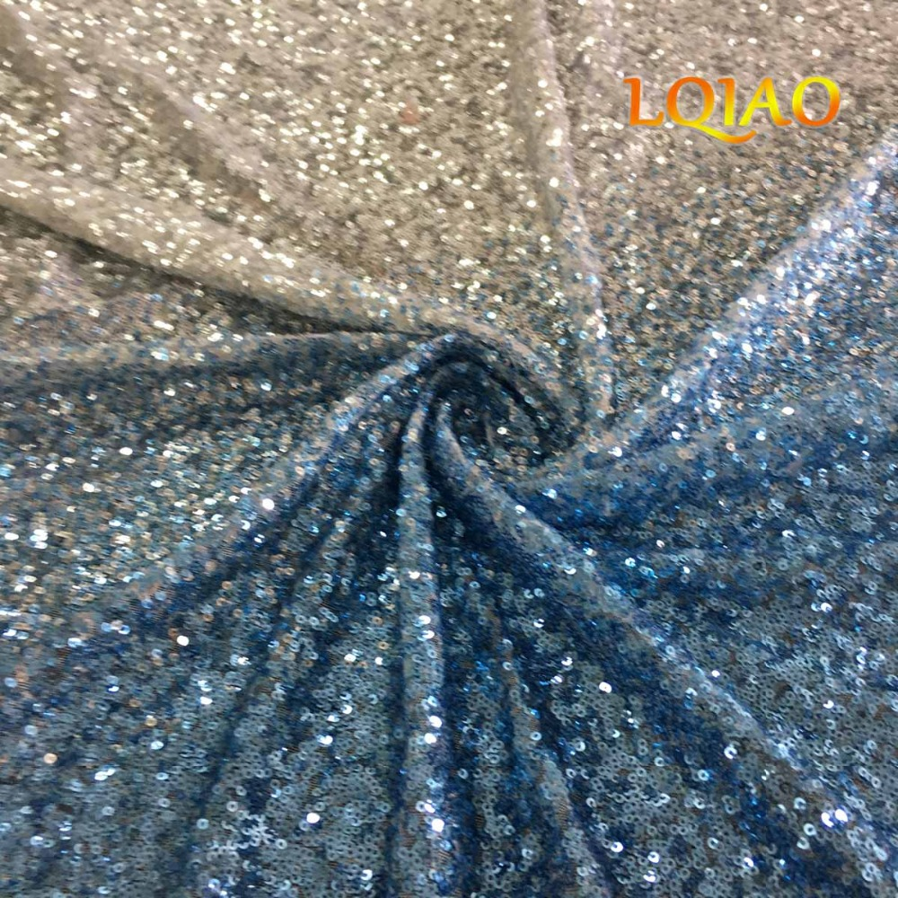 Turquoise Light Gold Sequin Fabric-004