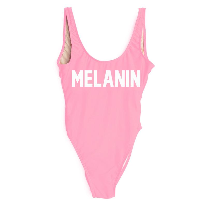 Drop Shipping Costume intero MELANIN Lettera stampato Costumi da bagno Donna taglio alto Basso schiena Costume da bagno Rosa Tuta da mare Costume da bagno Bambina Tuta