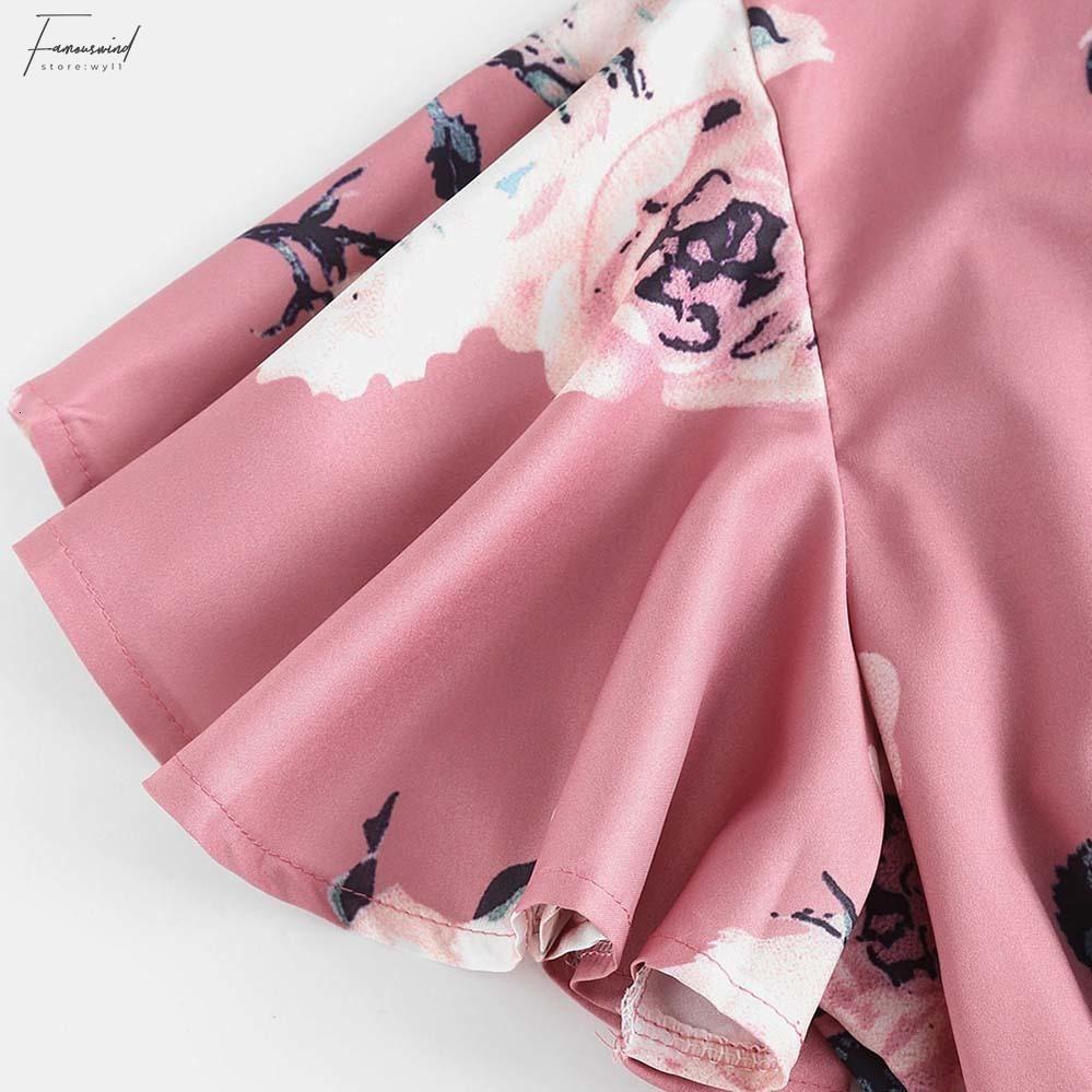 Herbst Belted Layered Romper Ruffle Frauen Jumpsuit Print Lose Tiefer Hals Schmetterlingshülse Mini Playsuits Overalls