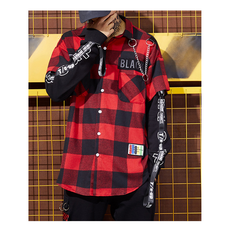 Red And Black Plaid Patchwork Shirt Men (2)