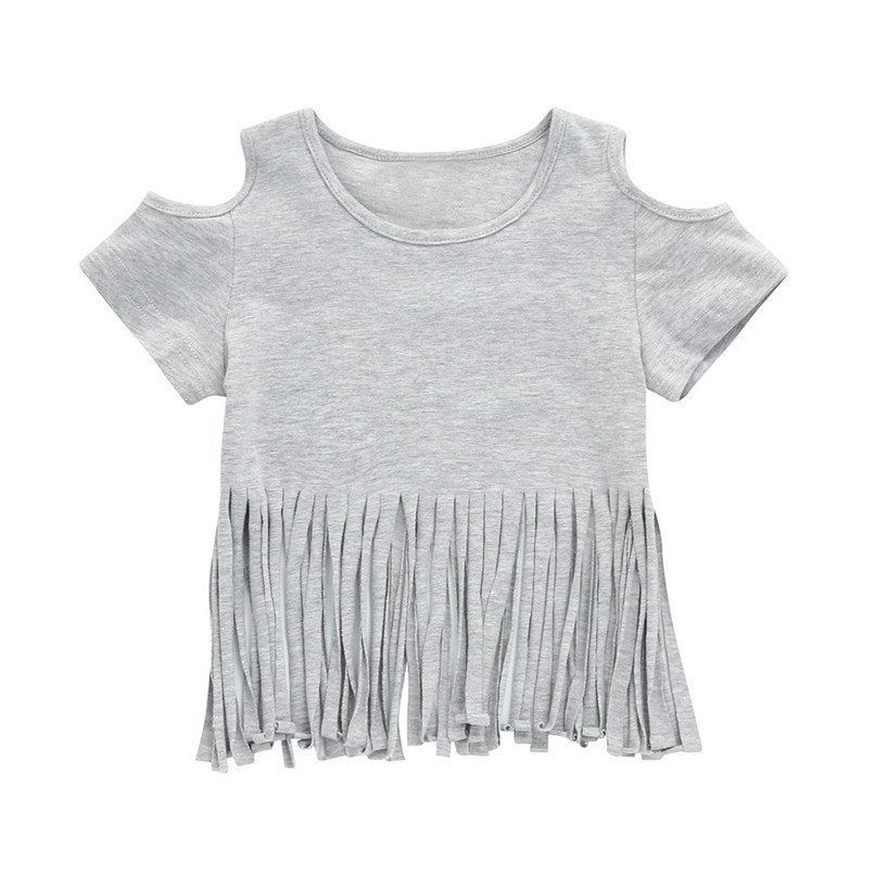 Summer Baby Girl Tops And Tees Toddler Infant Baby Girls Short Sleeve Tassel Off shoulder T-shirt Tops Baby Girl Clothes M8Y21 (1)
